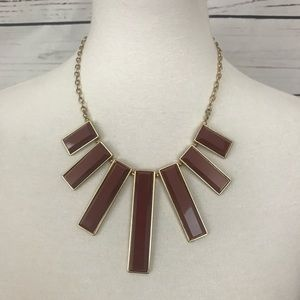 Chunky Statement Necklace Gold Tone Burgandy
